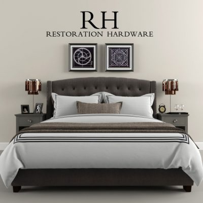 Restoration Hardware Warner Tufted Bed 3D Model
