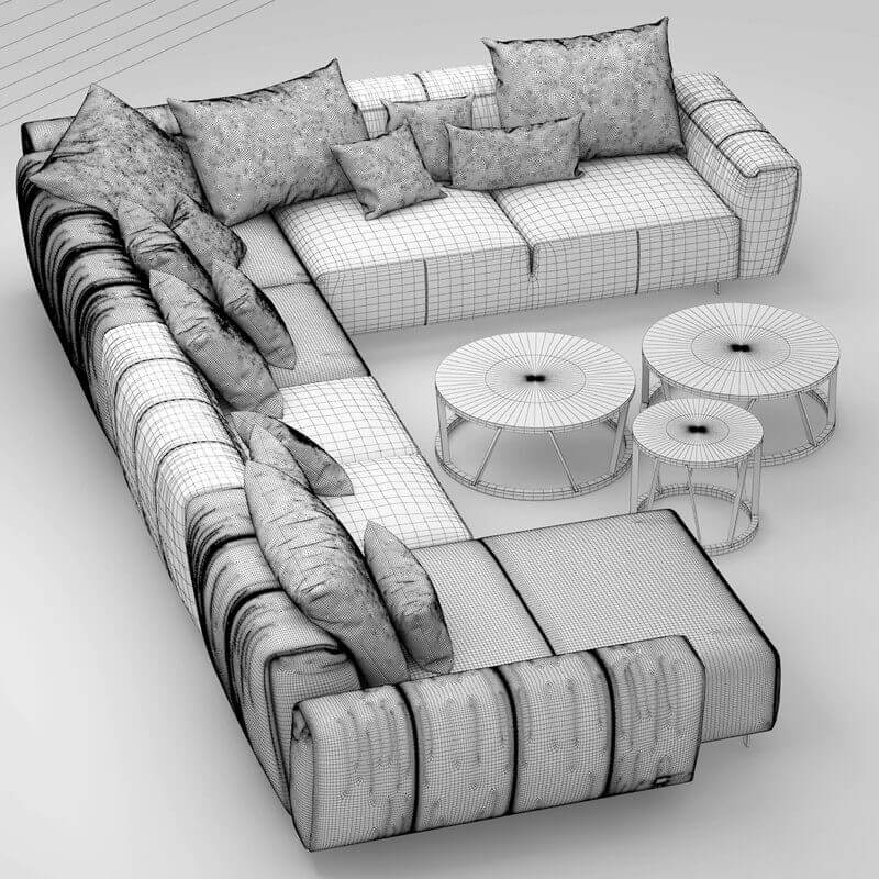 rolf benz teno sofa 3d model for download. Black Bedroom Furniture Sets. Home Design Ideas