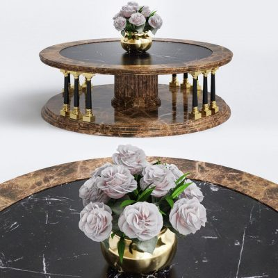 Round Coffee Table with Plant 3D Model