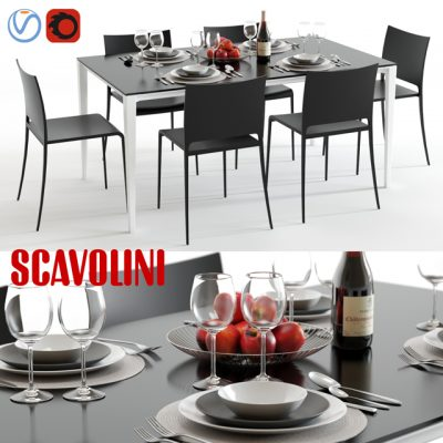 Scavolini Timeless and Mya Table & Chair 3D Model
