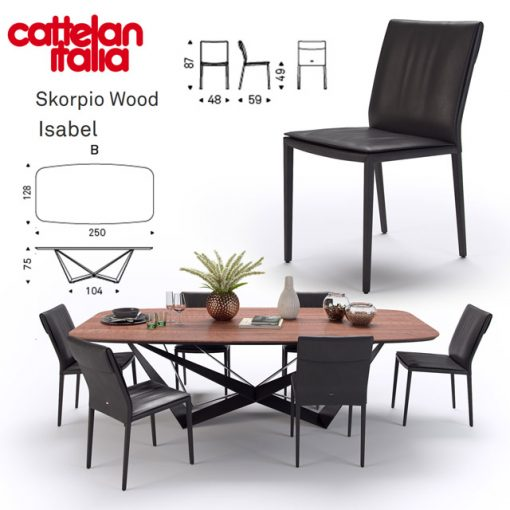 Scorpio Wood and Isabel Table & Chair 3D Model