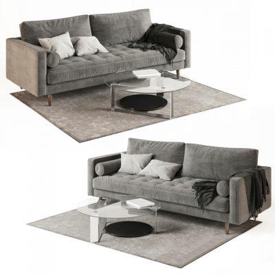 Scott 3 Seater Sofa 3D Model