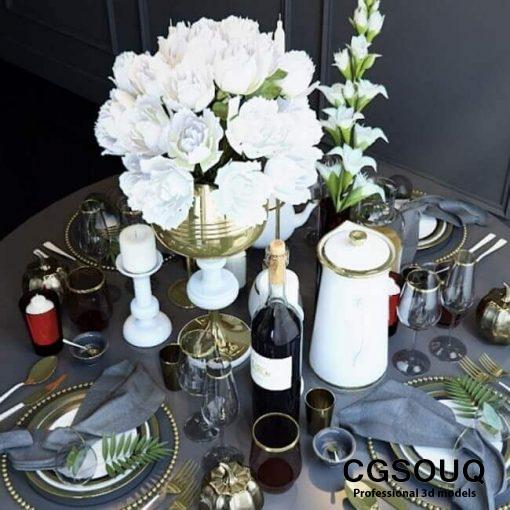 Serving roundtable tableware 3D model 2