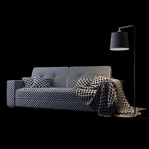 Silvio Triple Sofa 3D Model 2