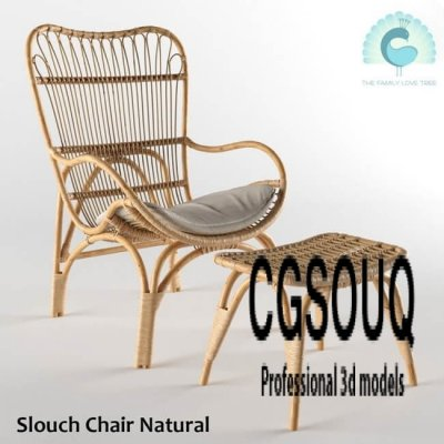 Slouch Chair Natural Outdoor Furniture 3D Model