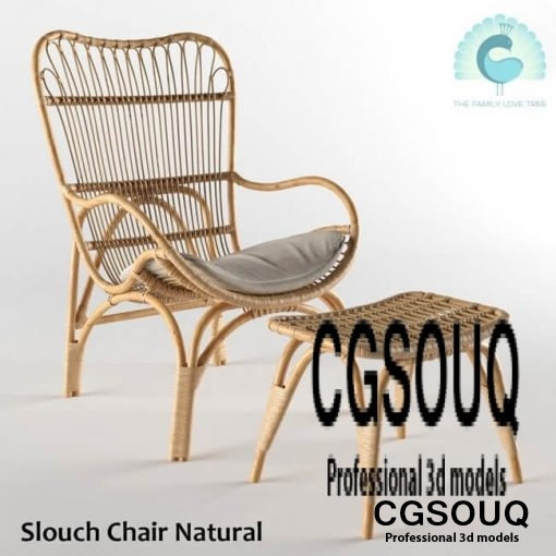 Slouch Chair Natural Outdoor Furniture 3D model 1