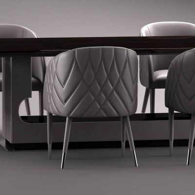 Smania Amal table and chair 3D model (1)