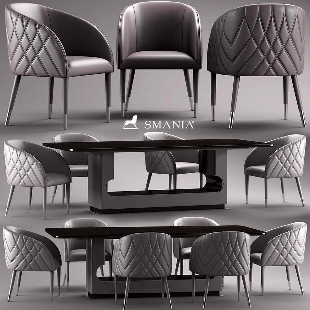 Smania Amal table and chair 3D model (2)