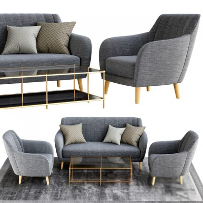 Sofa & Armchair Set 3D Model