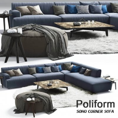 Poliform Soho corner sofa Elise Mad Tribeca Coffe Table 3D model