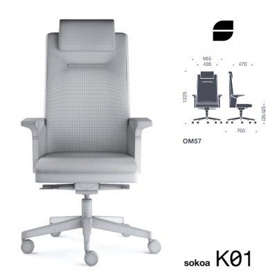Sokoa K01 Office Chair 3D Model 4