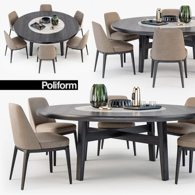 Poliform Sophie Chair Home Hotel Table 3D model