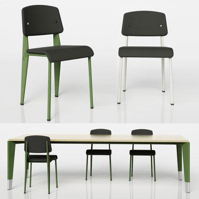 Standard SR - Prouve Raw Table & Chair 3D Model