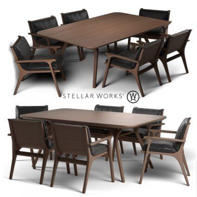 Stellar Works Ren Dinning Table & Chair 3D Model