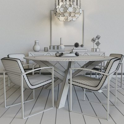 Table & Chair Set-77 3D Model 3