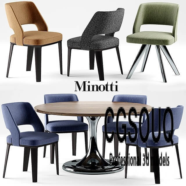 Table and chairs minotti NETO table OWENS CHAIR 3D model