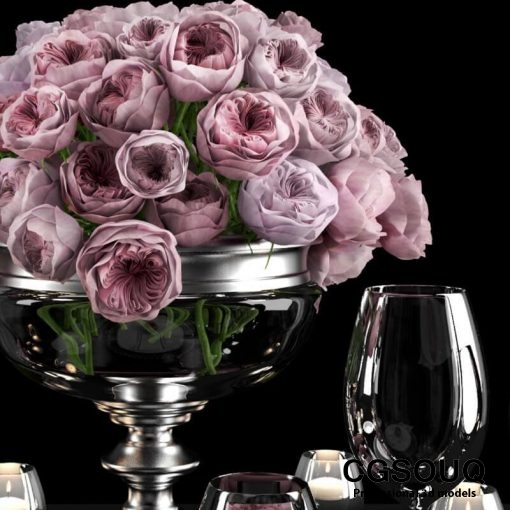 Table setting with roses tableware 3D model 1