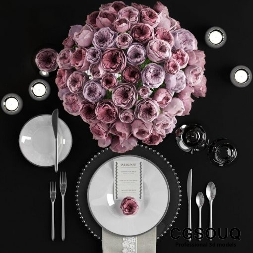 Table setting with roses tableware 3D model 2