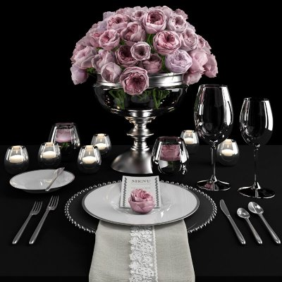 Table setting with roses tableware 3D model 3