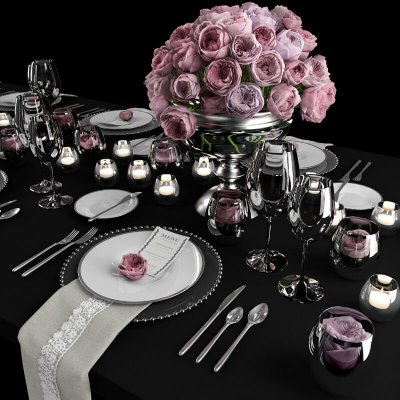 Table setting with roses tableware 3D model 4