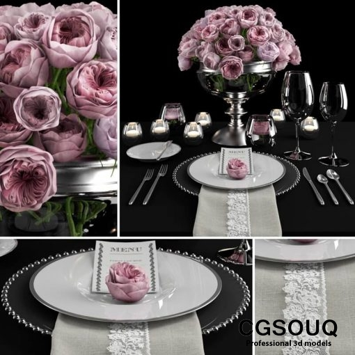 Table setting with roses tableware 3D model 5