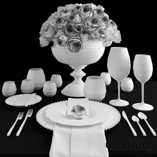 Table setting with roses tableware 3D model 6