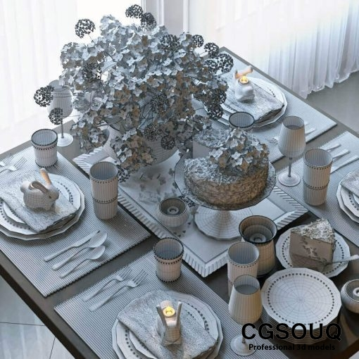 Tableware With Cake 4