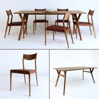 Tate Leather Dining Table & Chair 3D Model