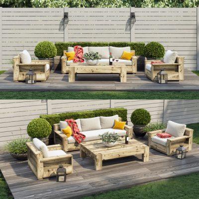 Terrace Patio Outdoor Sofa Set 3D Model