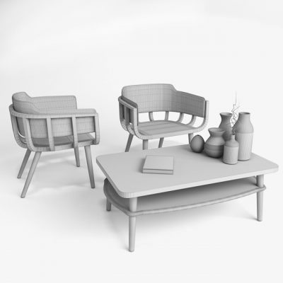 The Frame Table & Chair Set 3D Model