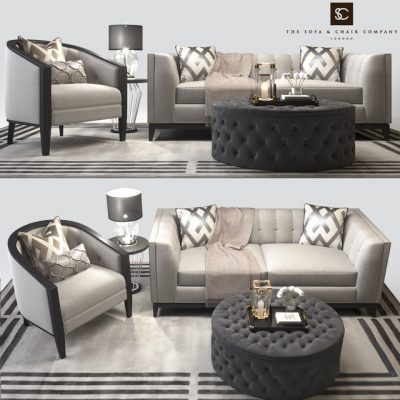 The Sofa & Chair Company Living Sofa Set 3D Model
