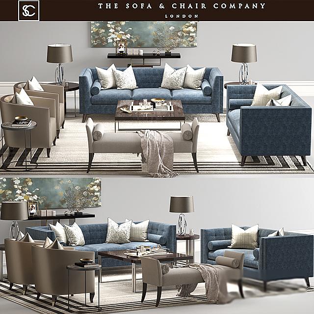 The Sofa & Chair Company - Sofa Set-02 3D Model