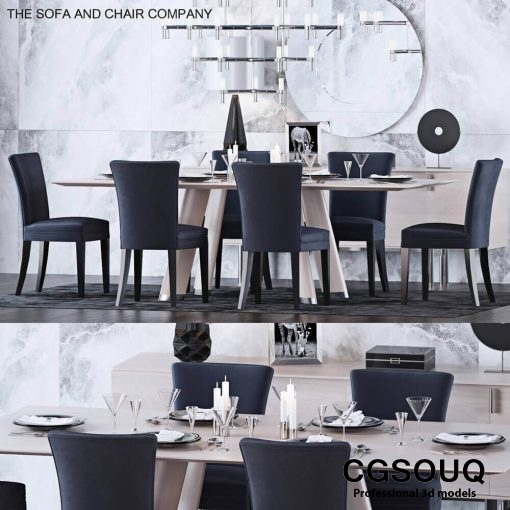 The Sofa and Chair Company - Table and Chair Set 3D model (1)