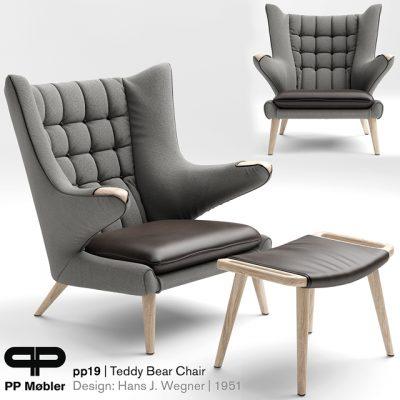 The Teddy Bear PP19 Armchair 3D Model