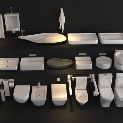 Toilet & Bidet Set 3D model