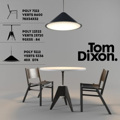 Tom Dixon Trio Table & Chair 3D Model