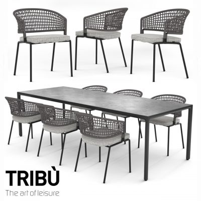 Tribu Contour Table & Chair 3D Model