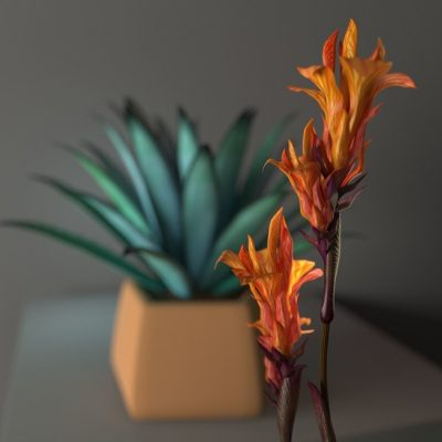 Tropical plants 3D model 2