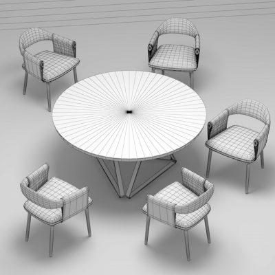 Trussardi Casa Larzia Table & Chair 3D Model