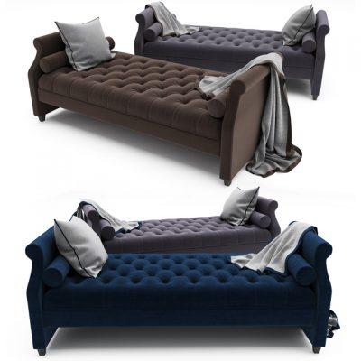 Tufted Sofa Bed 3D Model 3