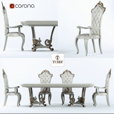 Turri Baroque Table & Chair Set 3D Model