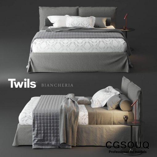 Twils Biancheria Bed 3D Model 1