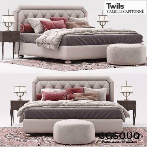 Twils Camile capitonne Bed 3d model