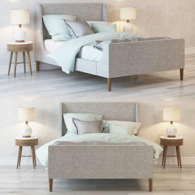 Upholstered Sleigh Bed 3D Model