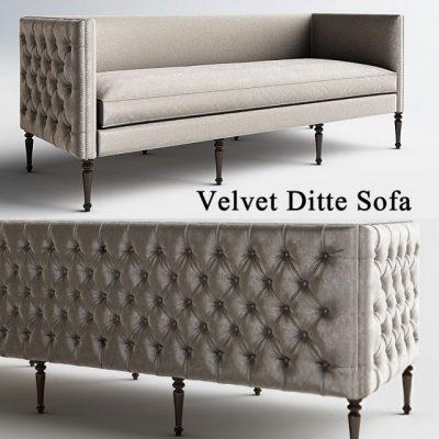 Velvet Ditte Emerald Sofa 3D Model