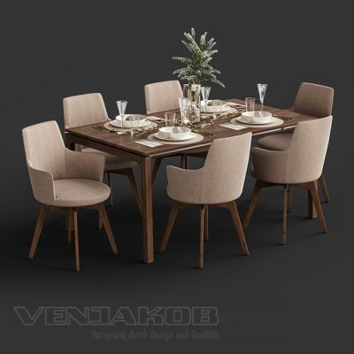 Venjakob Alexia and ET388 - Table & Chair 3D Model
