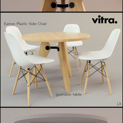 Vitra Gueridon & Eames Table & Chair 3D Model