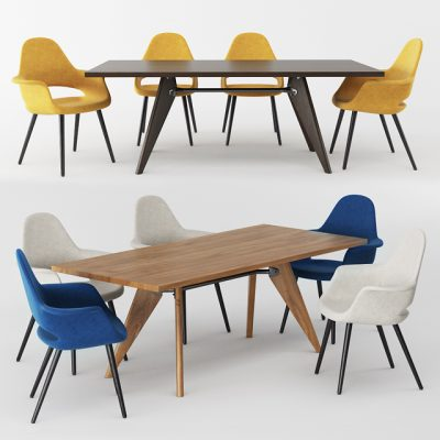 Vitra Organic Conference And Solvay Table – Table & Chair 3D Model