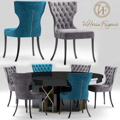 Vittoria Frigerio Adda Capitonne Table & Chair 3D Model