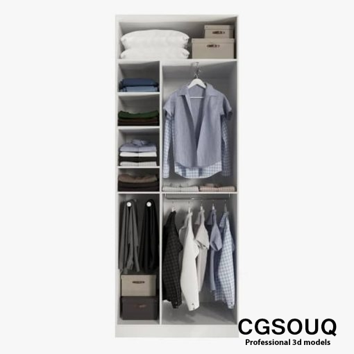 Wardrobe with clothes 3D model 1